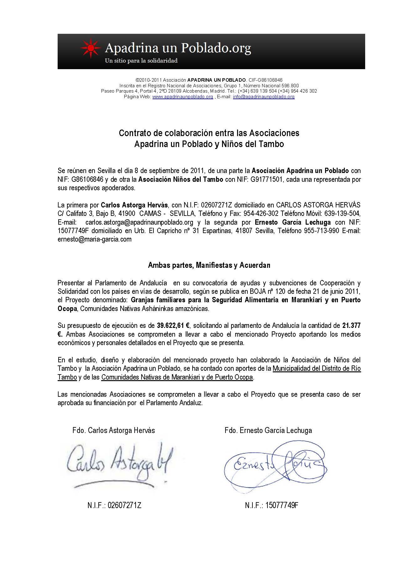 Convenio Asociaciones Niños del Tambo y Apadrina un Poblado
